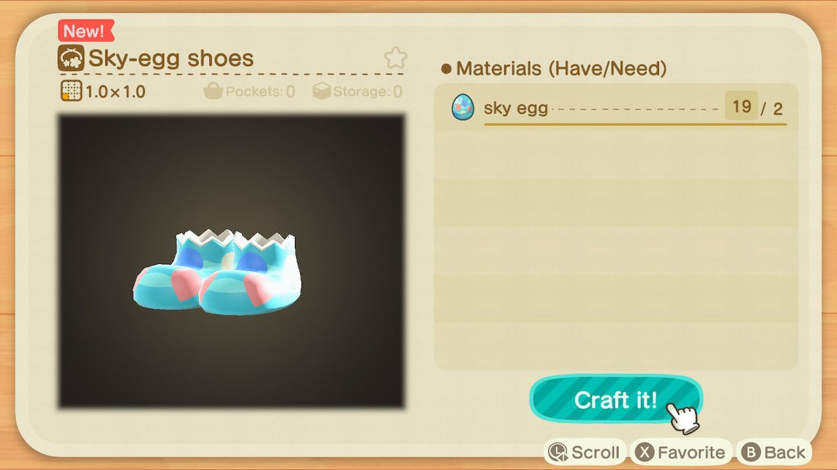 A crafting screen in Animal Crossing showing how to make a Sky-Egg Shoes