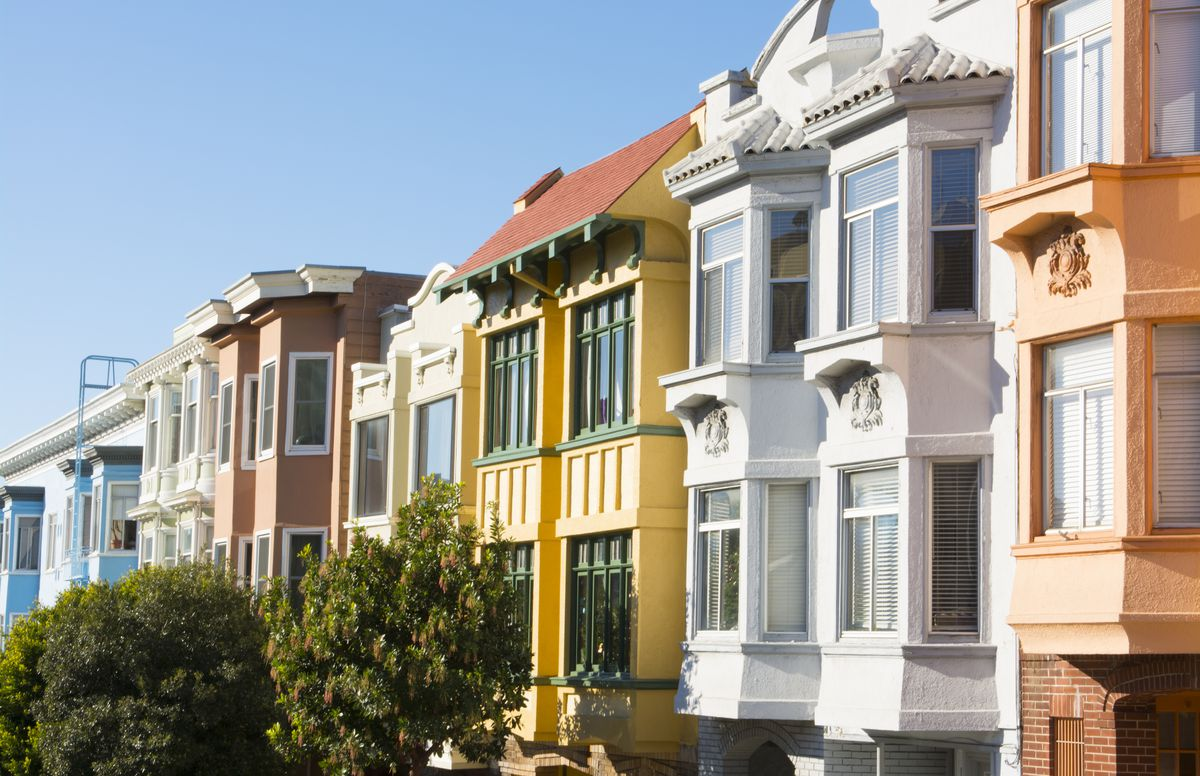 Russian Hill colorful Victorian houses on Hyde and Broadway Streets