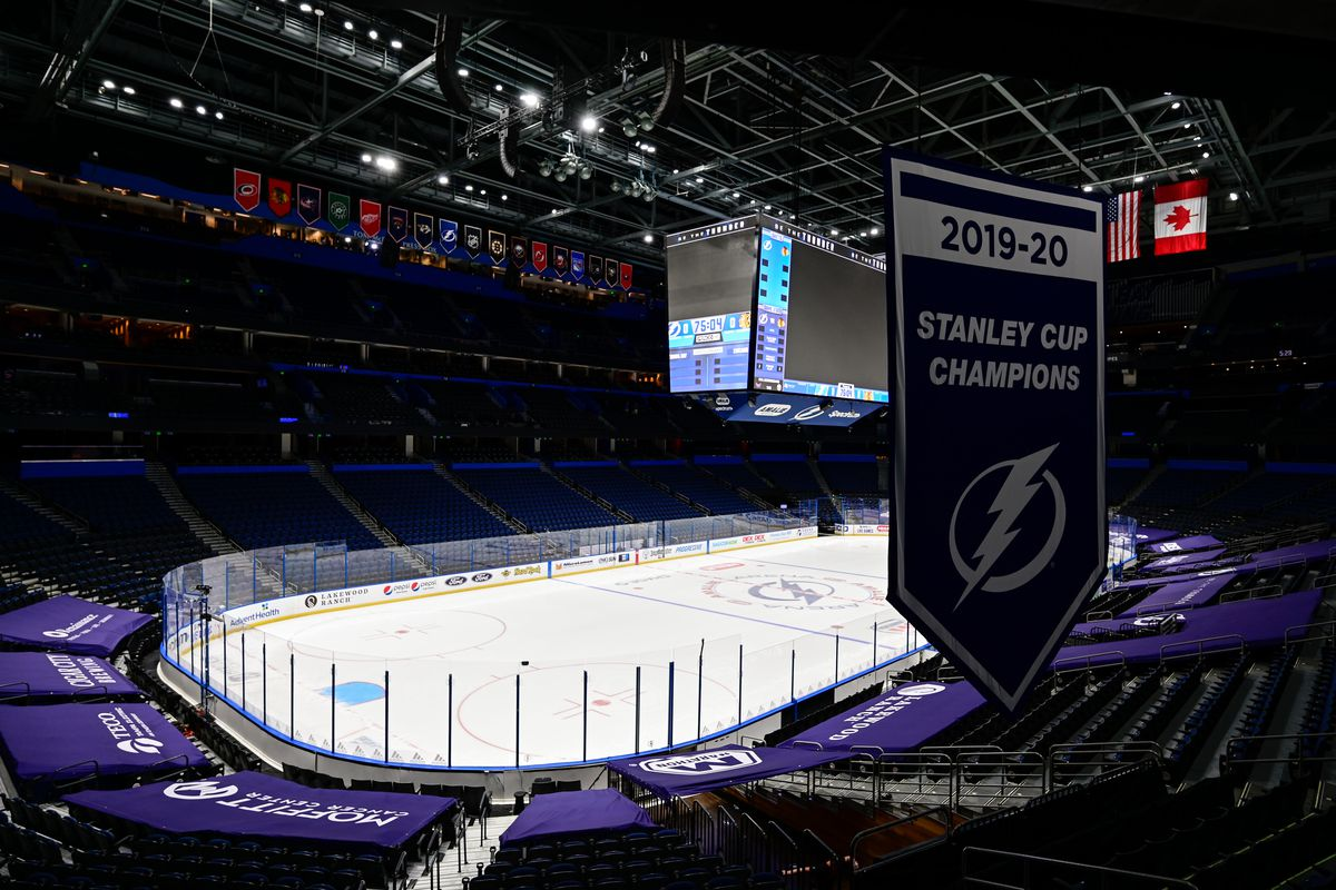 General view of the Tampa Bay Lightning 2019-20 Stanley Cup Champions banner hanging in the stadium prior to the game between the Tampa Bay Lightning and the Chicago Blackhawks at Amalie Arena.