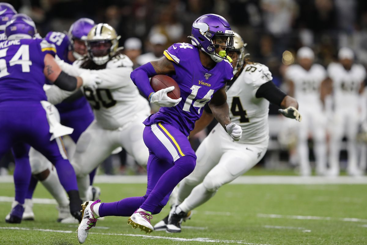 Stefon Diggs of the Minnesota Vikings runs with the ball during the second half against the New Orleans Saints in the NFC Wild Card Playoff game at Mercedes Benz Superdome on January 05, 2020 in New Orleans, Louisiana.