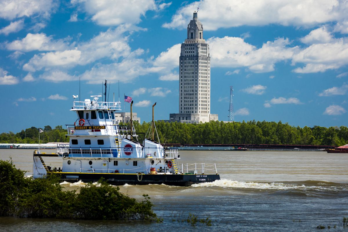 Baton Rouge, Louisiana Skyline and State Capitol on Mississippi River