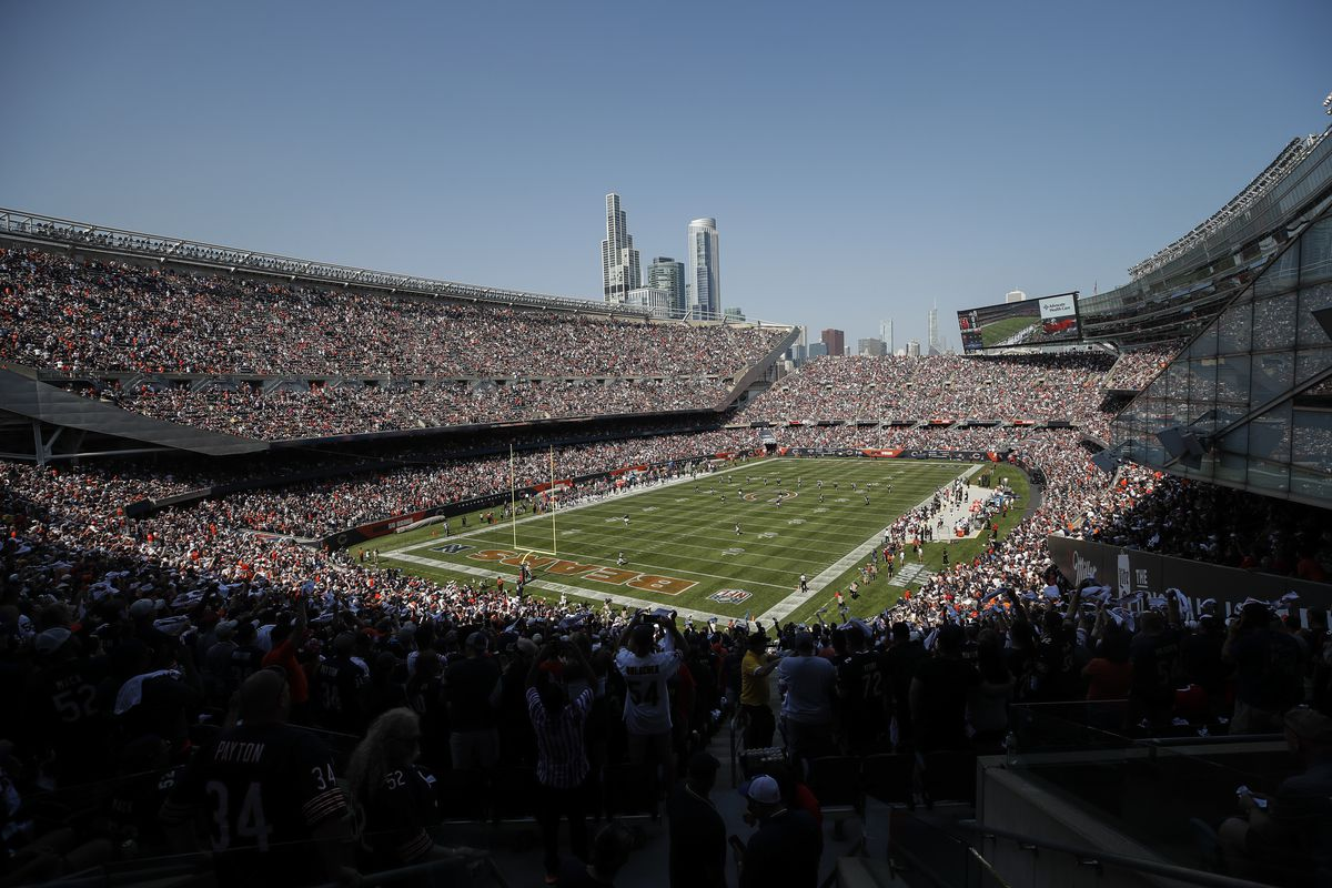 Cincinnati Bengals kick off to the Chicago Bears at Soldier Field on Sunday, Sept. 19, 2021.