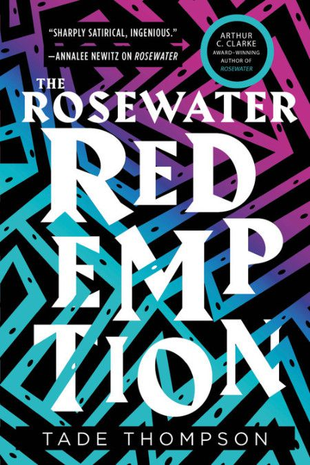 cover for The Rosewater Redemption; the white text takes up most of it, with an intricate zig-zag blue and purple pattern