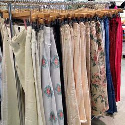 AG southwestern print jeans and Current/Elliot floral print jeans, both $74.50.