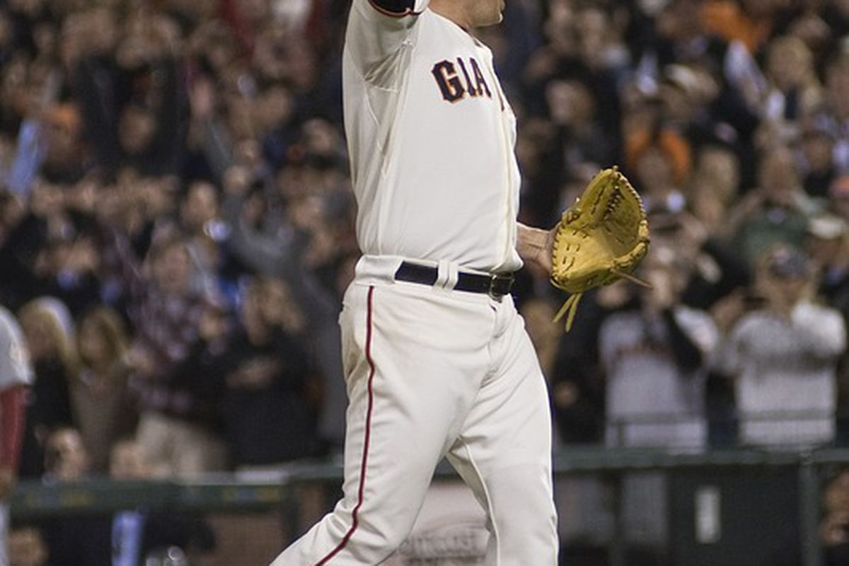San Francisco, CA, USA; San Francisco Giants starting pitcher Matt Cain (18) celebrates after throwing a perfect game against the Houston Astros at AT&T Park.  Mandatory Credit: Ed Szczepanski-US PRESSWIRE
