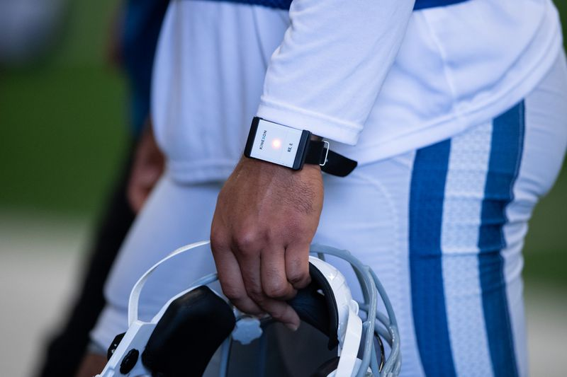 An Indianapolis Colts player wears a Kinexon tracking device during the Indianapolis Colts training camp practice on August 18, 2020.