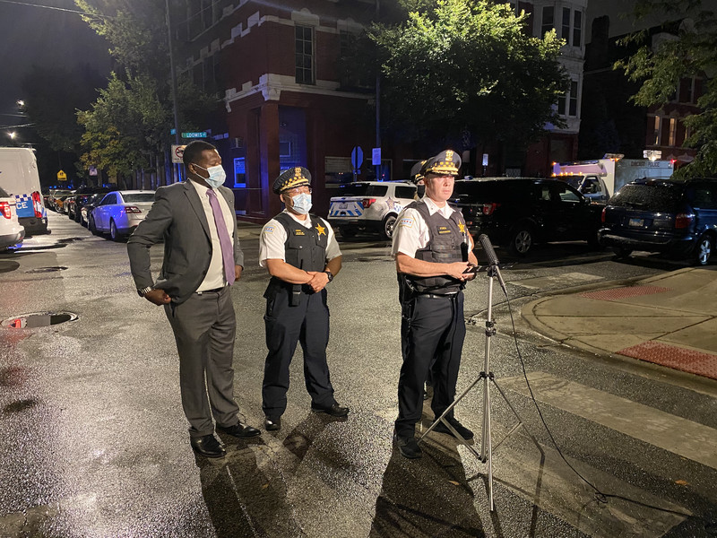 Chicago police deputy chief Daniel O'Shea addresses media on the scene where officers shot a man during a shootout and took two other people into custody in the 1300 block of West 19th Street.