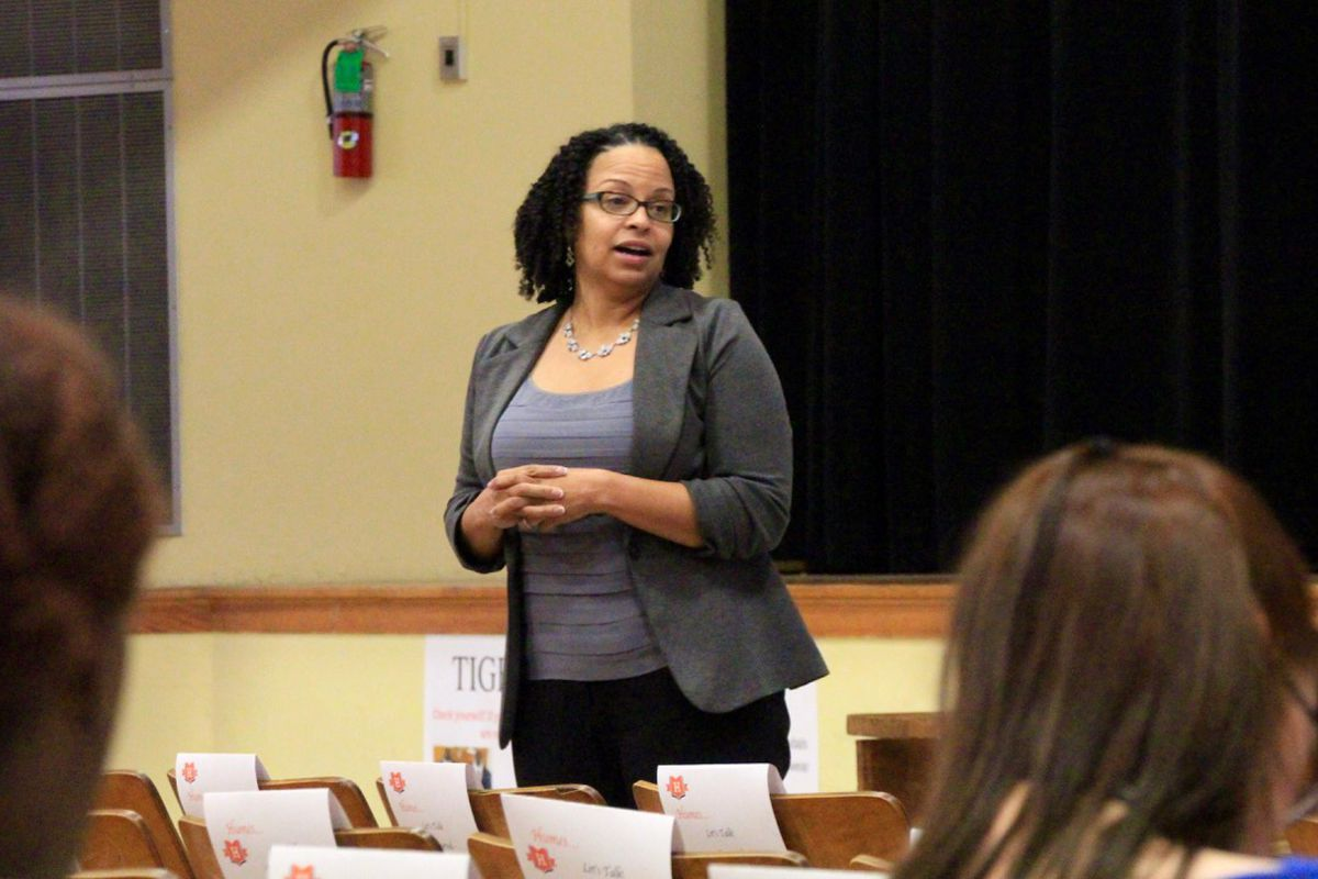 Achievement School District Superintendent Malika Anderson speaks in October to Memphis parents and teachers at Humes Preparatory Academy Middle School, which will lose one charter operator and get a new one at the end of the 2016-2017 school year.