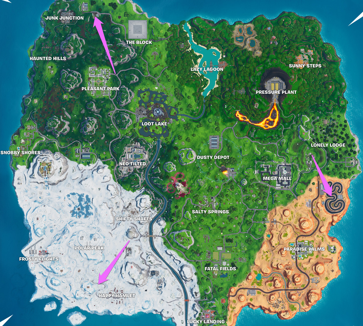 A Fortnite map with the locations of three racetracks marked