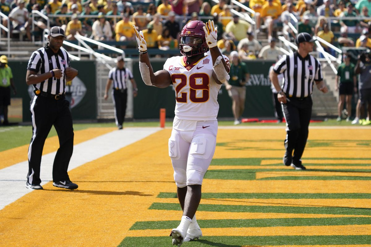 Iowa State Cyclones running back Breece Hall (28) shows his excitement after scoring a touchdown in the first half of the game against the Baylor Bears at McLane Stadium.