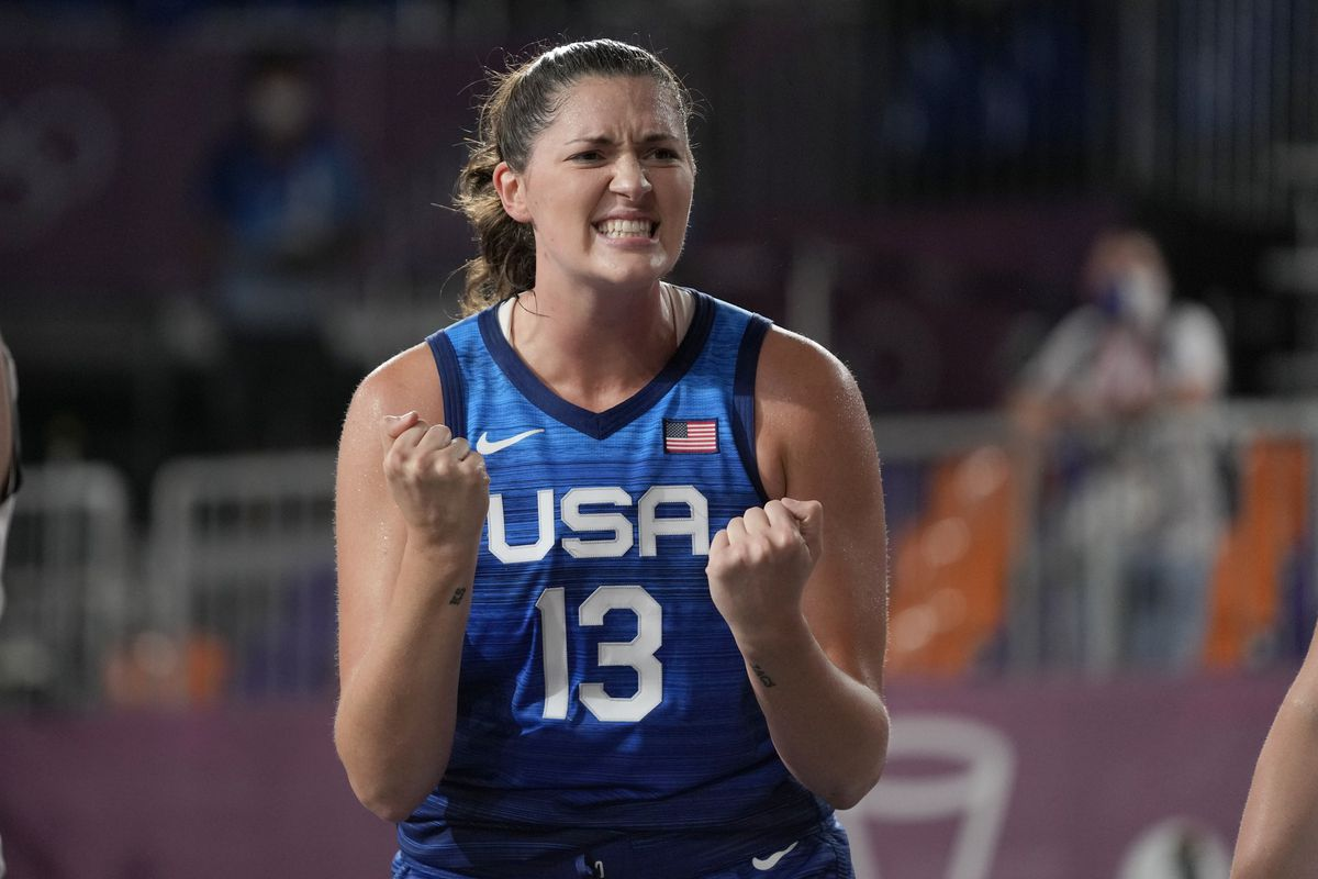 The United States' Stefanie Dolson celebrates during a women's 3-on-3 basketball game against Russian Olympic Committee.