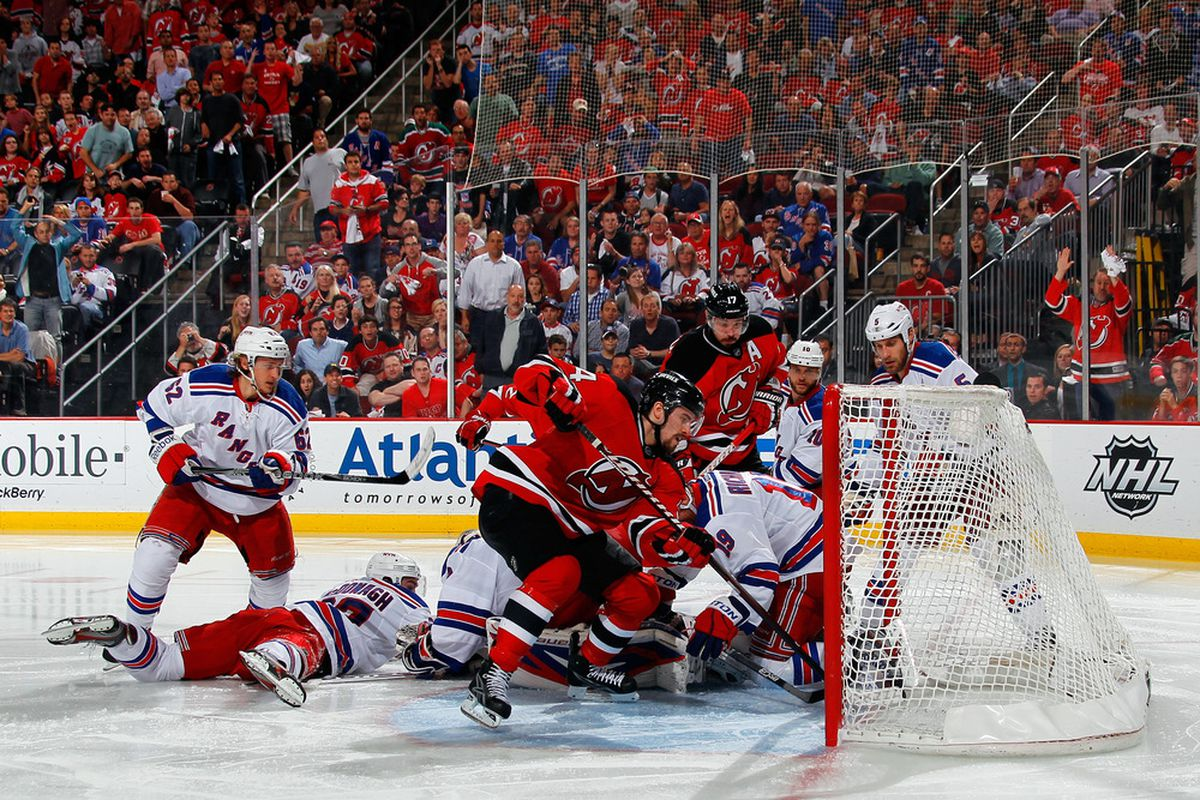 This picture is from the last Devils-Rangers game at the Rock.  It ended well.