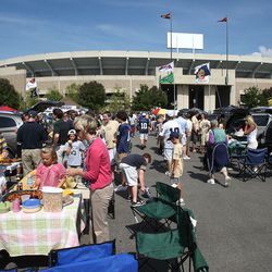 SOUTH BEND, IN - SETPEMBER 19: Fans tailgate in the parking lot before a game between the Notre Dame Fighting Irish and the Michigan State Spartans on September 19, 2009 at Notre Dame Stadium in South Bend, Indiana.