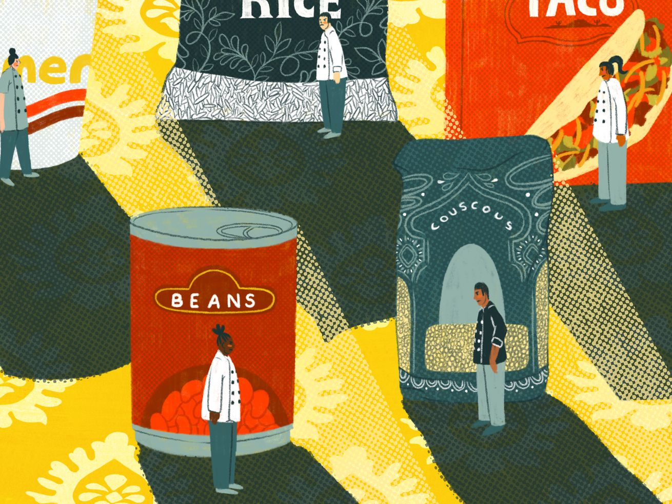 Small figures wearing chefs' coats stand in the shadows of packaged foods: ramen, beans, couscous, rice, and taco seasoning.