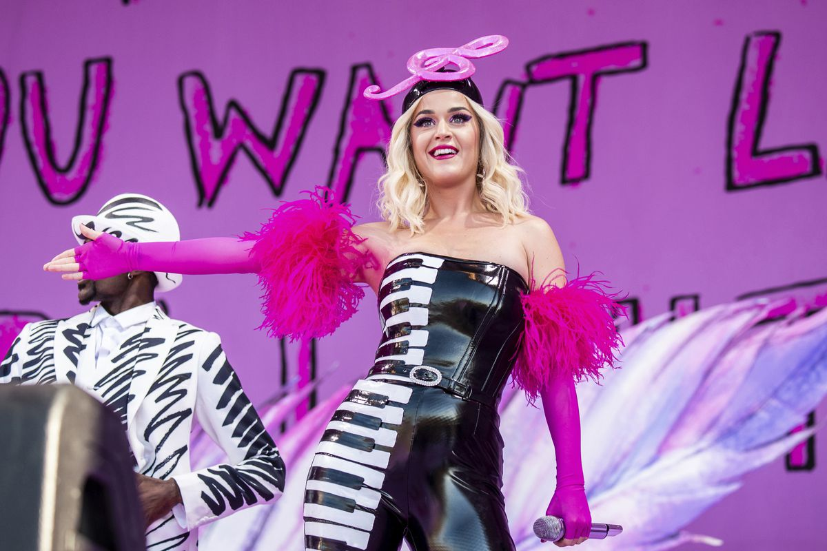 This April 27, 2019 file photo shows Katy Perry at the New Orleans Jazz and Heritage Festival in New Orleans. The penalty phase in a copyright infringement trial will begin Tuesday, July 30, 2019, in Los Angeles and will determine how much Perry and other.