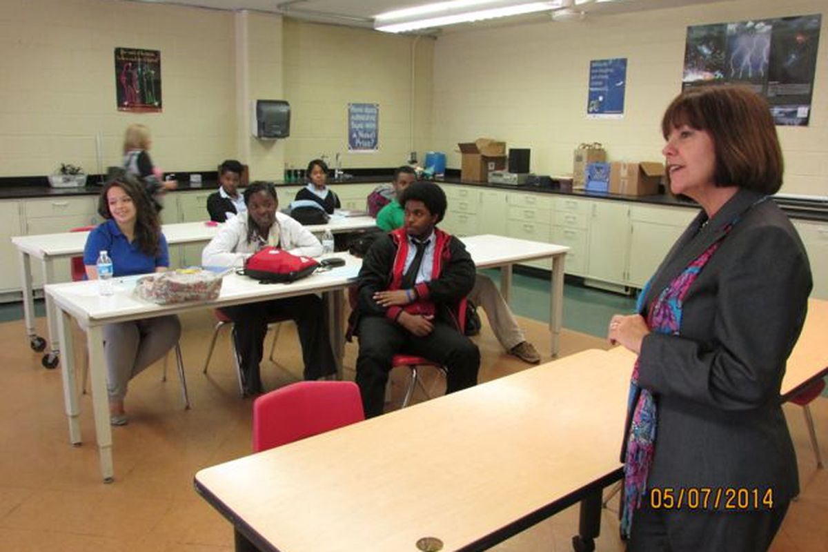 First Lady Karen Pence speaks to students in a physics class at Providence Cristo Rey High School last week. (Scott Elliott)