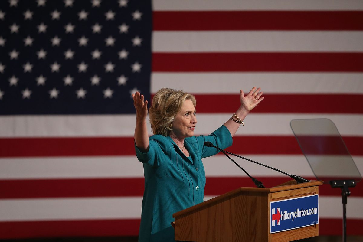 Democratic presidential hopeful and former Secretary of State Hillary Clinton calls for an end to the Cuban trade embargo as she gives a policy speech at the Florida International University on July 31, 2015, in Miami, Florida.