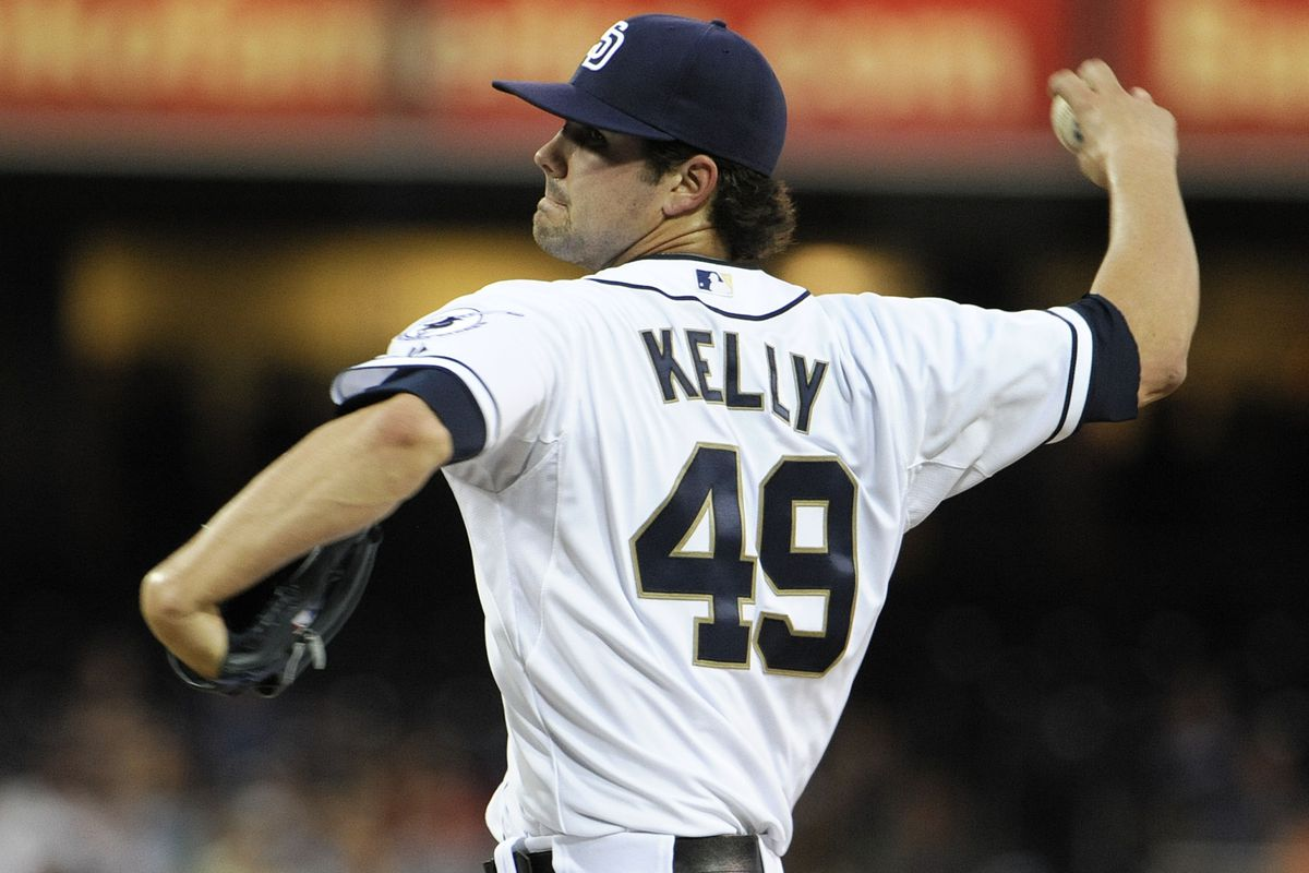 SAN DIEGO, CA - AUGUST 27:  Casey Kelly #49 of the San Diego Padres pitches during the third inning of a baseball game against the Atlanta Braves at Petco Park on August 27, 2012 in San Diego, California.  (Photo by Denis Poroy/Getty Images)