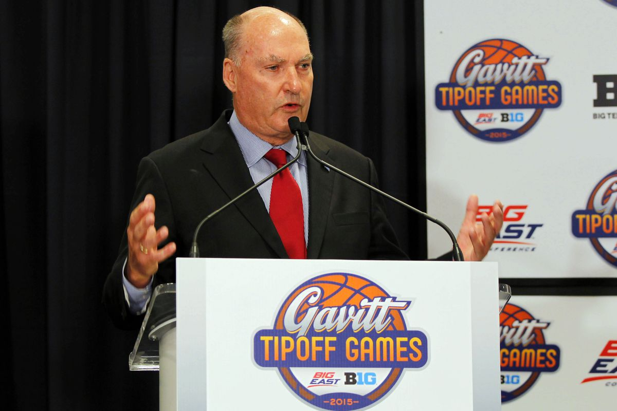 Big Ten commissioner Jim Delany at Monday's announcement of the Gavitt Tipoff Games.