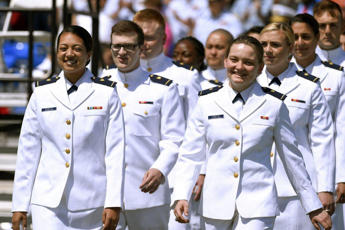 Group of Coast guard cadets at graduation