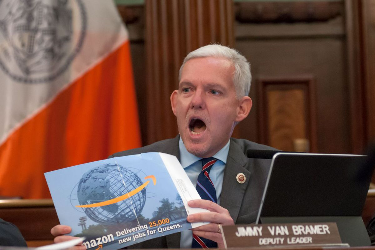 Queens Councilman Jimmy Van Bramer grills Amazon representatives about the HQ2 deal during a City Hall hearing, Jan. 30, 2019.