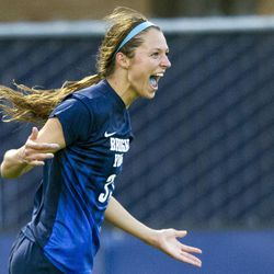 BYU forward Ashley Hatch celebrates her goal during an NCAA soccer game against San Francisco in Provo on Monday, Oct. 3, 2016. BYU shutout San Francisco 4-0.