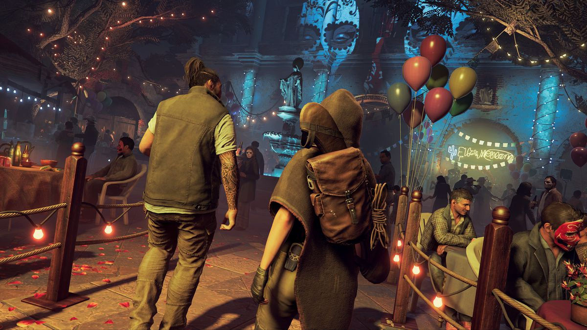 Shadow of the Tomb Raider - Jonah and Lara at Dia de los Muertos celebration