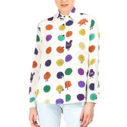 """<b>House of Holland</b> Pom Pom Print Long Sleeve Blouse, <a href=""""http://www.openingceremony.us/products.asp?menuid=2&menuid2=5&designerid=322&productid=74395"""">$315</a> at Opening Ceremony"""