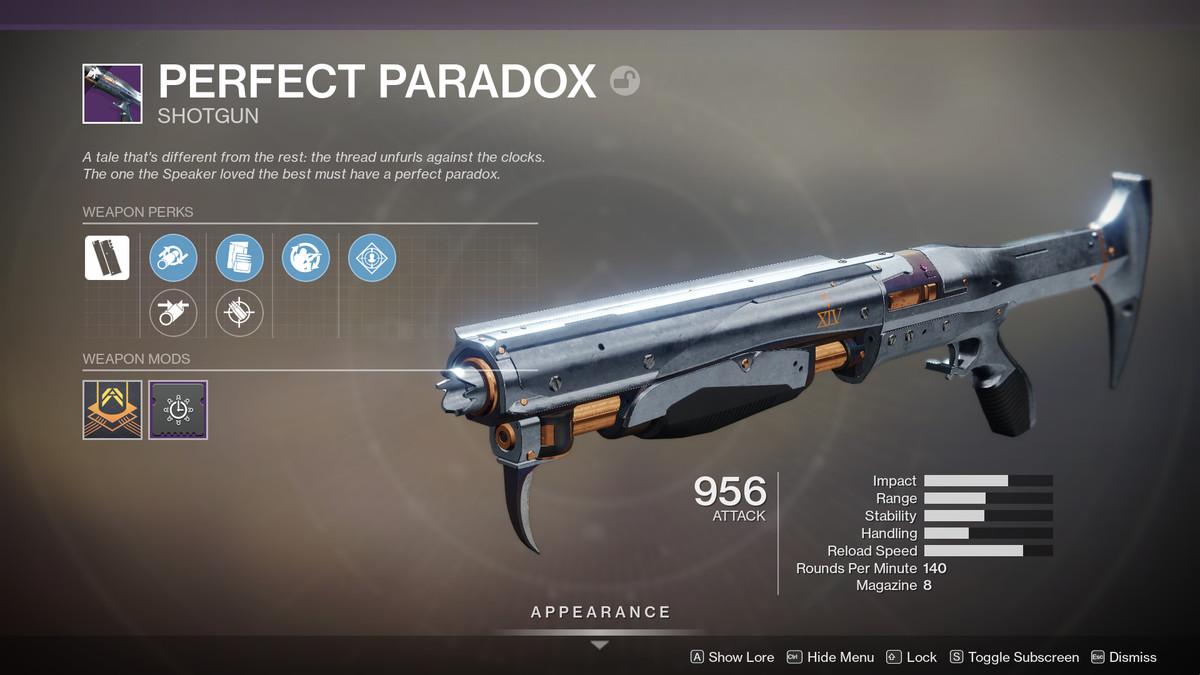 Perfect Paradox shotgun Destiny 2