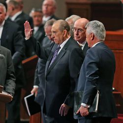 Thomas S. Monson, President of the Church of Jesus Christ of Latter-day Saints, waves at the crowd at the end of the morning session of the 183rd Semiannual General Conference of the Church of Jesus Christ of Latter-day Saints Sunday, Oct. 6, 2013, in Salt Lake City.