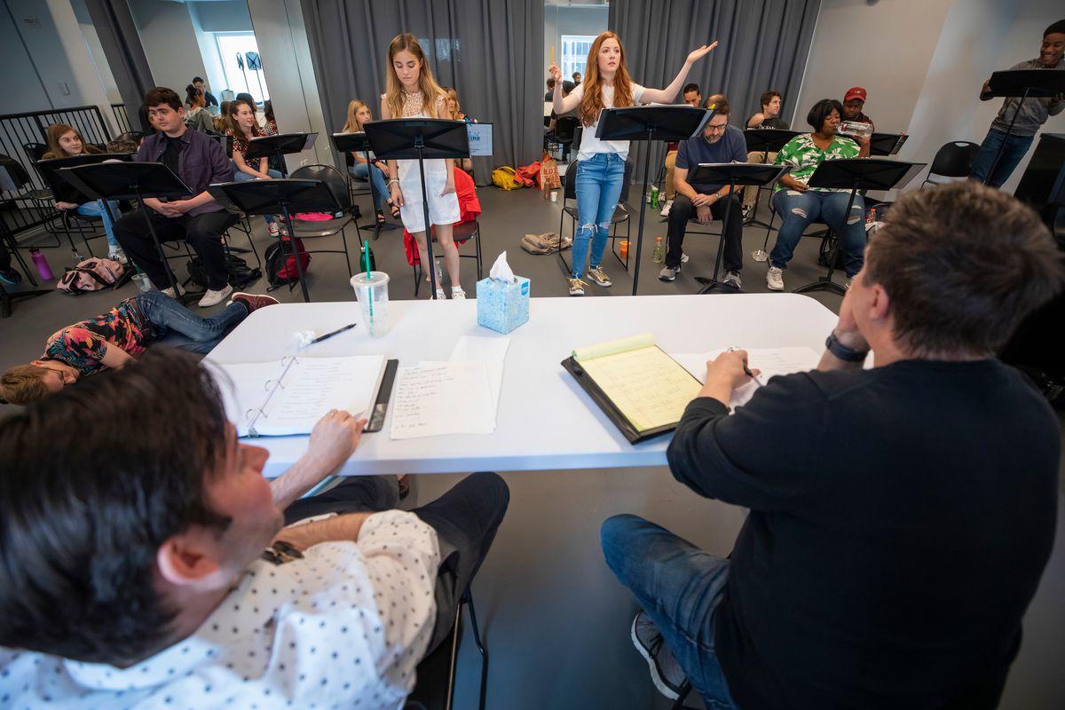 UVU students Lexi Walker, Autumn Best, along with Eric Holmes, writer and lyricist Nat Zegree, music and lyrics