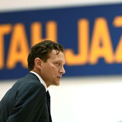 Utah Jazz head coach Quin Snyder waits to be interviewed during Media Day at Zions Bank Basketball Center in Salt Lake City on Monday, Sept. 26, 2016.