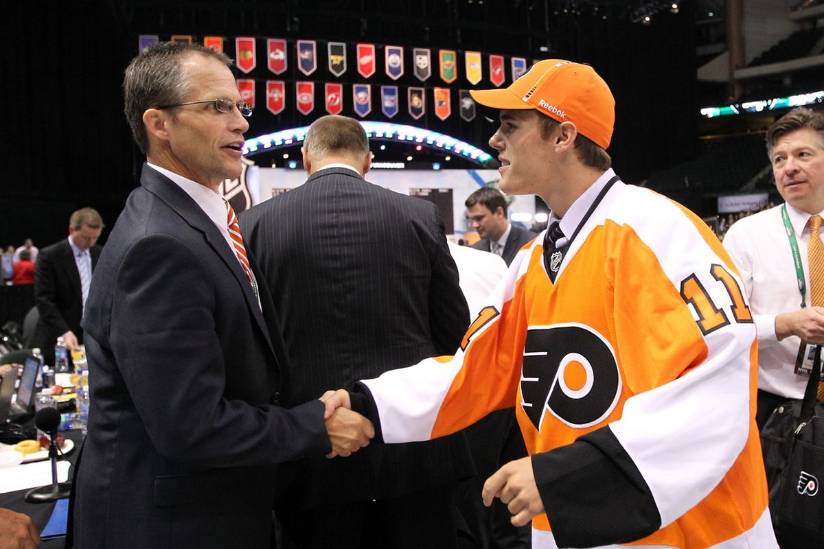 Nick Cousins meets the Flyers on Draft Day 2011 in St. Paul, Minnesota.