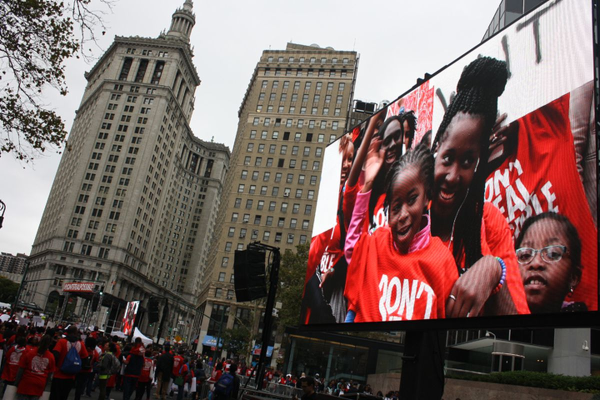A Families for Excellent Schools rally in October 2014 featuring charter-school students and families.