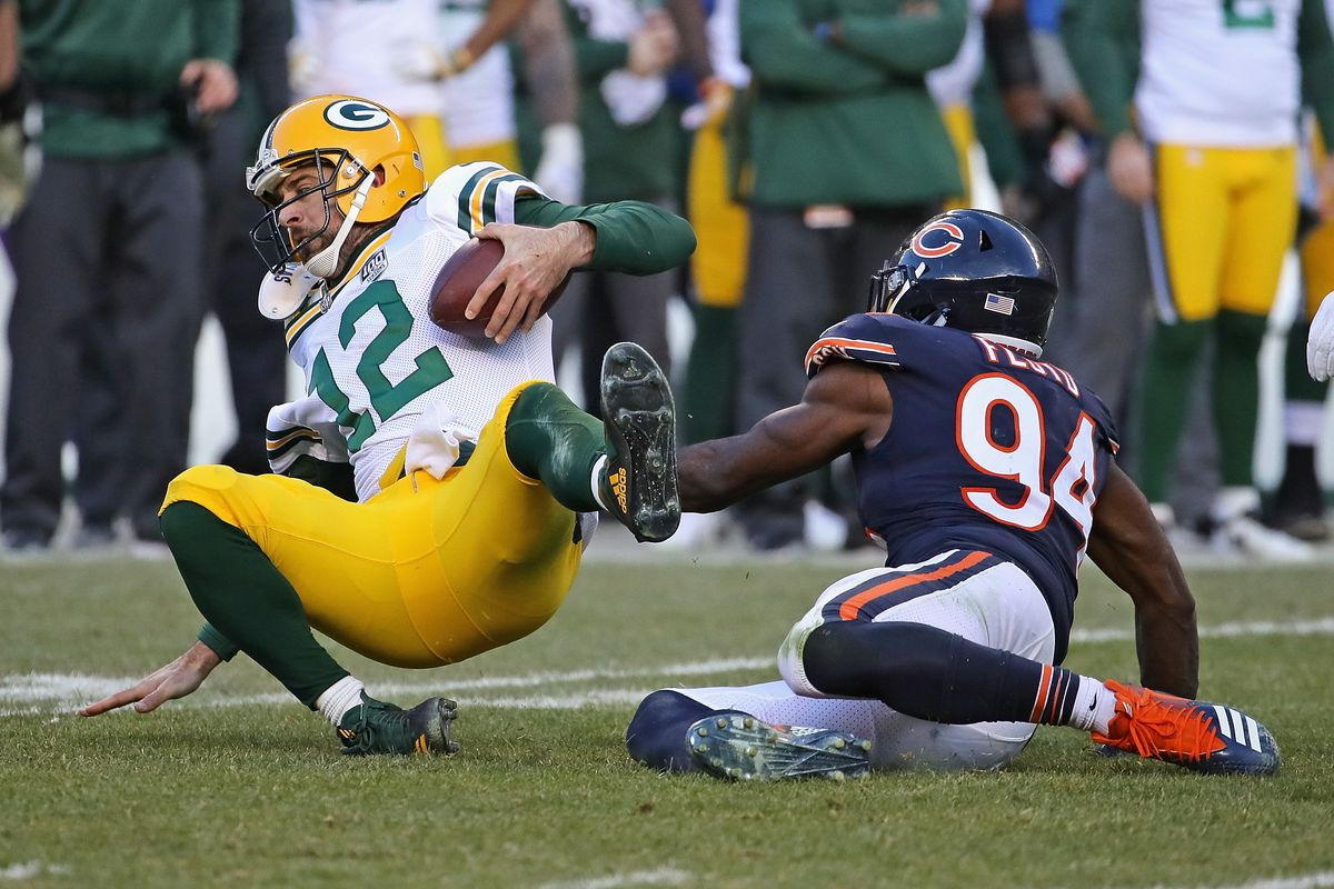 9d7b7de9051 Aaron Rodgers #12 of the Green Bay Packers is sacked by Leonard Floyd #94  of the Chicago Bears at Soldier Field on December 16, 2018 in Chicago,  Illinois.