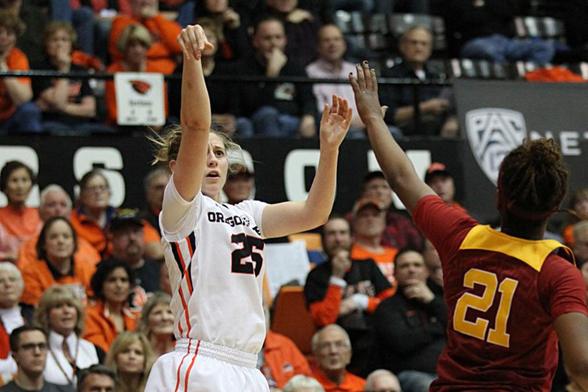 Taylor Kalmer shoots the ball against USC as #7 Oregon State defeats the Trojans 76 to 52