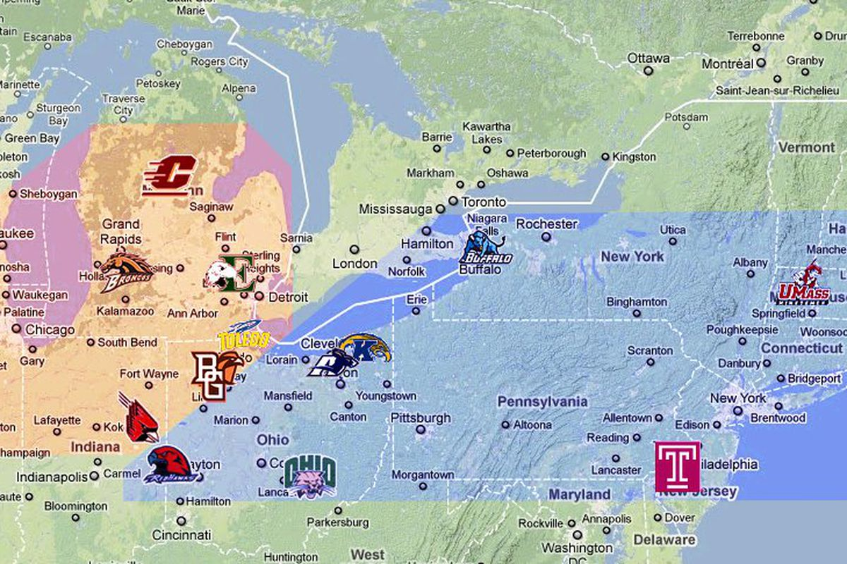 The New MAC moves Bowling Green to the West and UMass to the East