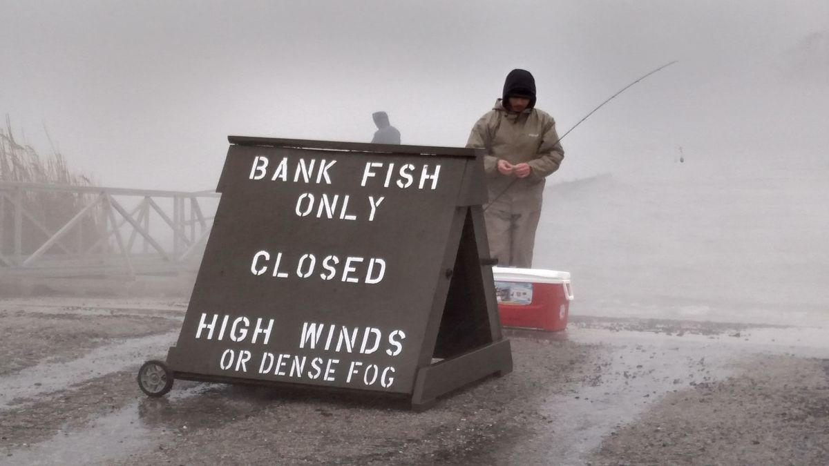 Savage north winds drove rain and closed the launch on the south (hot) side of Braidwood Lake, but did not stop shore fishermen on opening day Thursday.<br>Credit: Dale Bowman