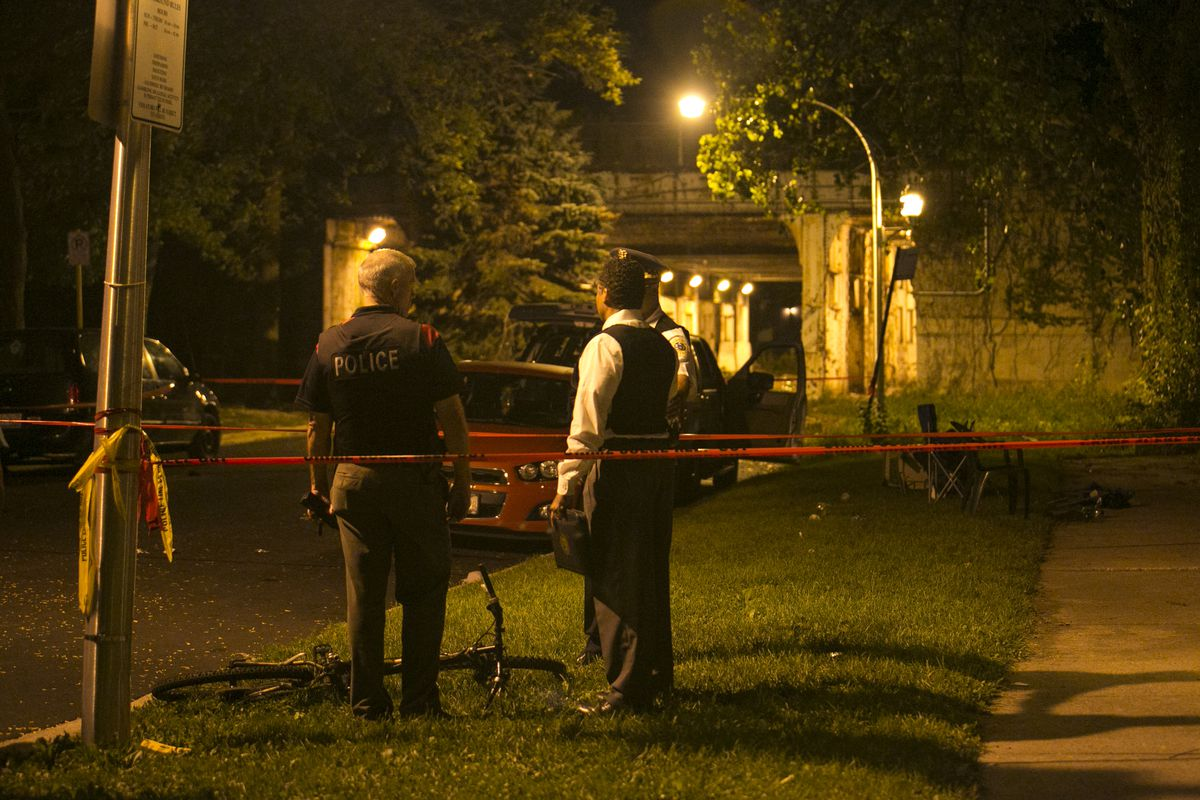 A woman and a man were both killed and three others were injured in a shooting early Tuesday in Fuller Park.   Ashlee Rezin/For the Sun-Times
