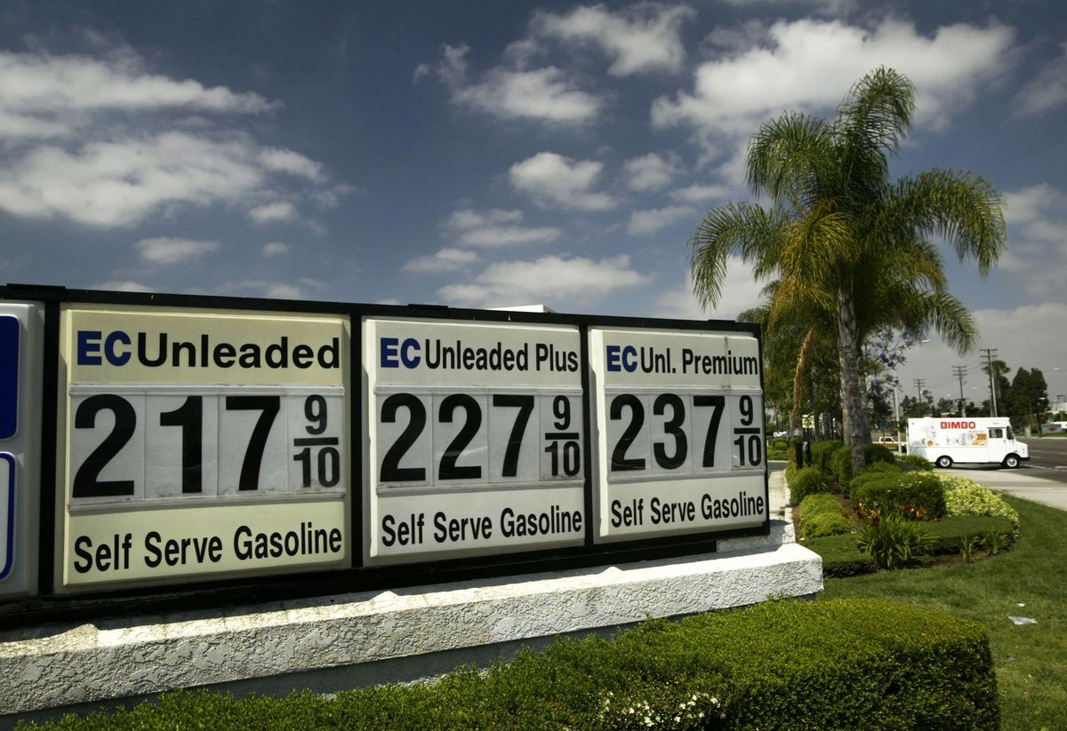 Unleaded gas sign