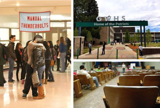 Students embrace at Manual High School (left). Above right, the front of Denver's George Washington High School, and, below right, a community meeting at Valverde Elementary School.