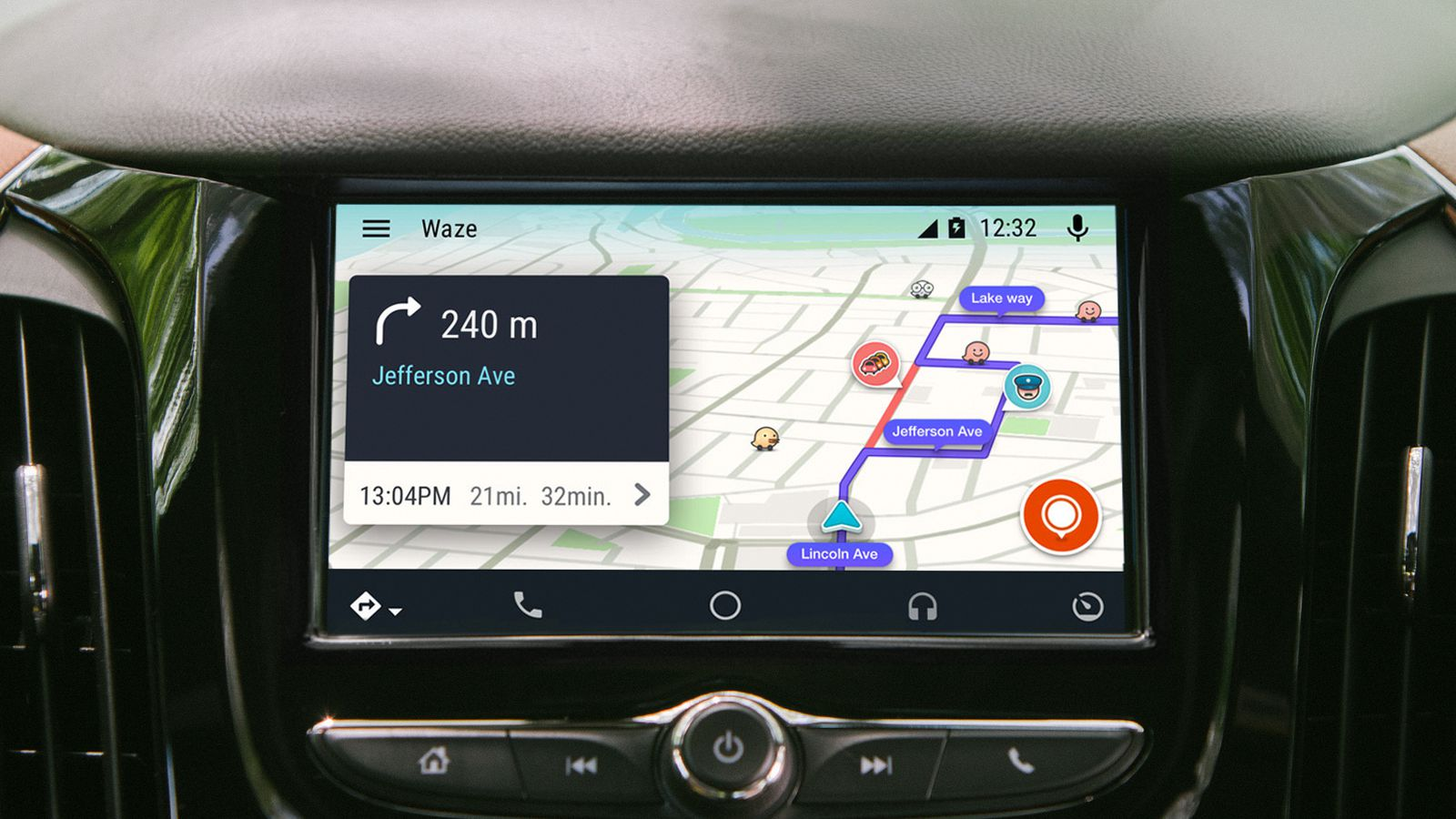 waze arrives on android auto the verge. Black Bedroom Furniture Sets. Home Design Ideas