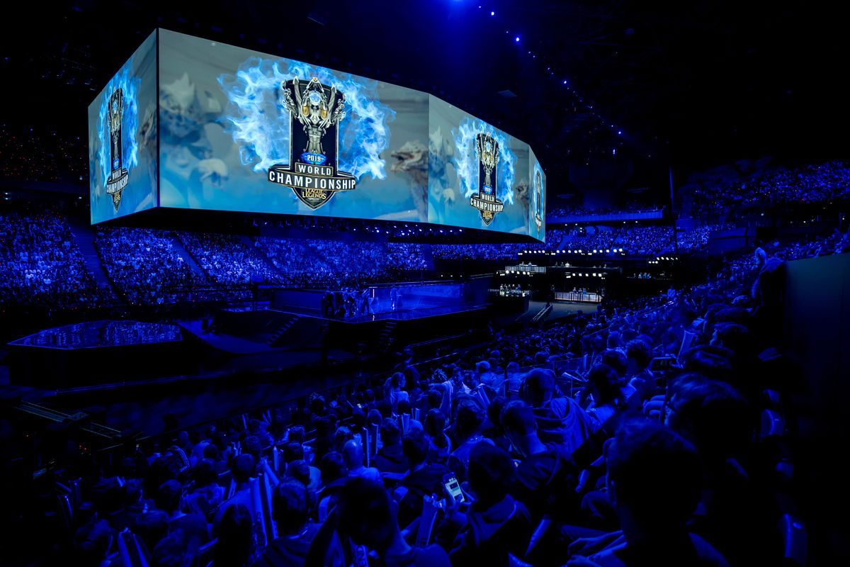 General view inside the arena during the opening ceremony ahead of the 2019 League of Legends World Championships at AccorHotels Arena on November 10, 2019 in Paris, France.