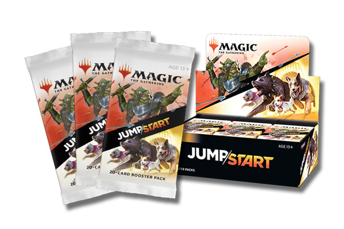 Packs of Jumpstart cards will feature dogs and orcs on the pack art. The graphic design, which splits the two factions with the Jumpstart name, emphasizes that you need 2 packs to play.