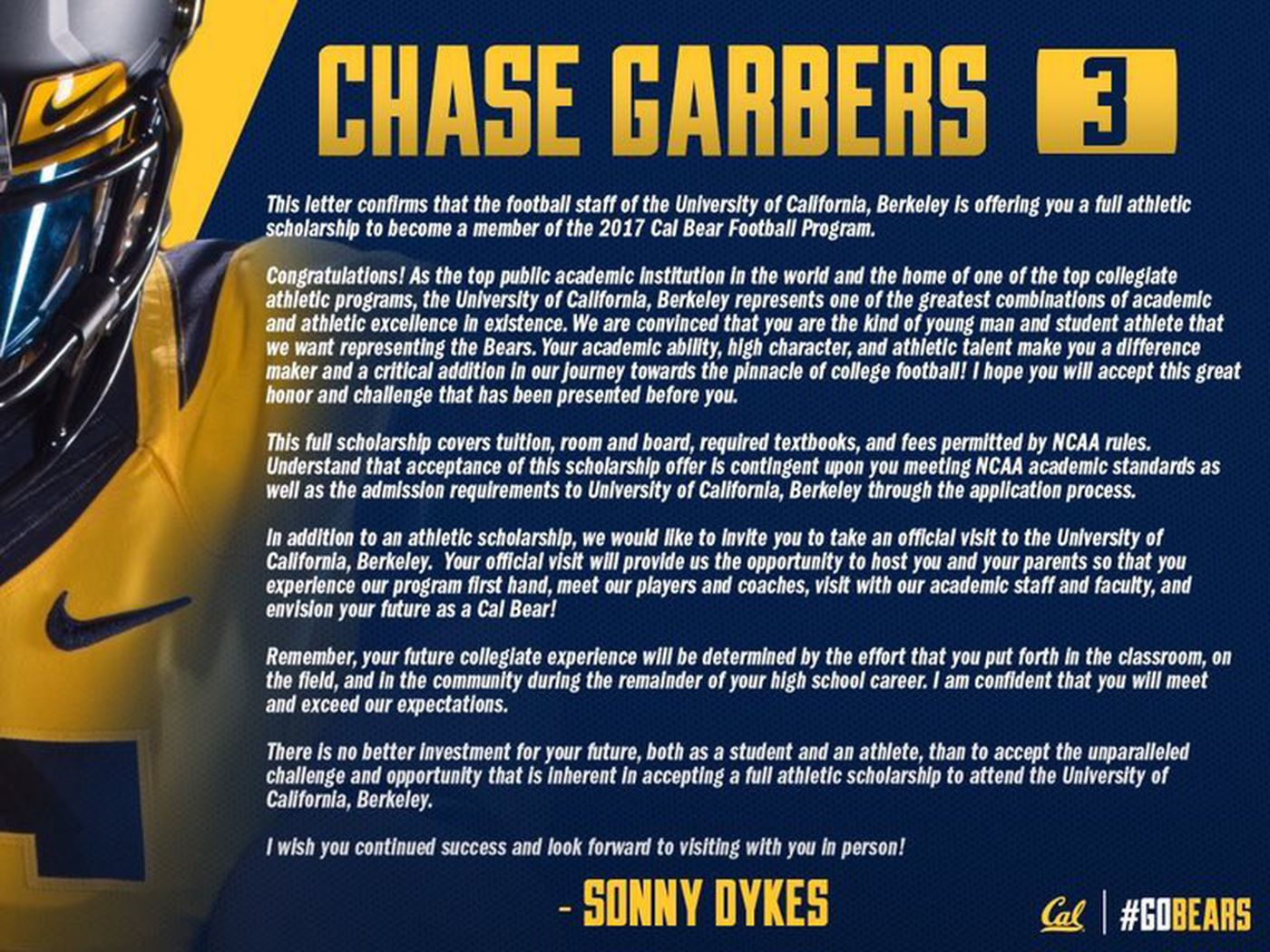 cal football recruiting has a new twitter and official scholarship