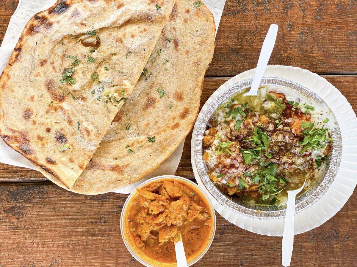 Samosa chaat at Punjabi Dhaba in Bakersfield.