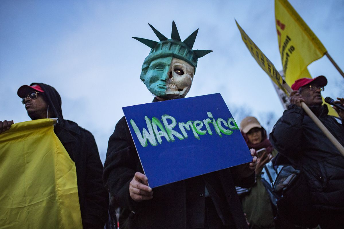 Protesters gather in New York for a rally against the U.S. missile strikes in Syria.   Andres Kudacki/Associated Press
