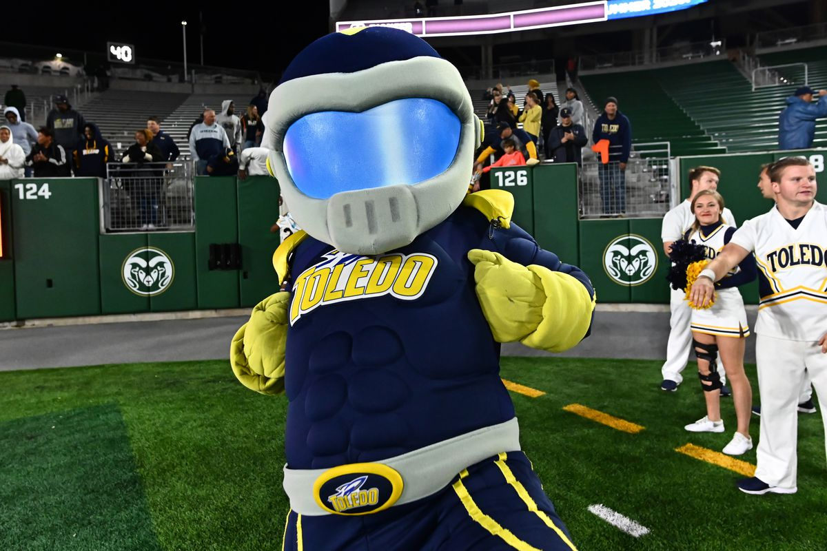 Toledo Rockets mascot Rocky the Rocket celebrates the win over the Colorado State Rams at Sonny Lubrick Field at Canvas Stadium.