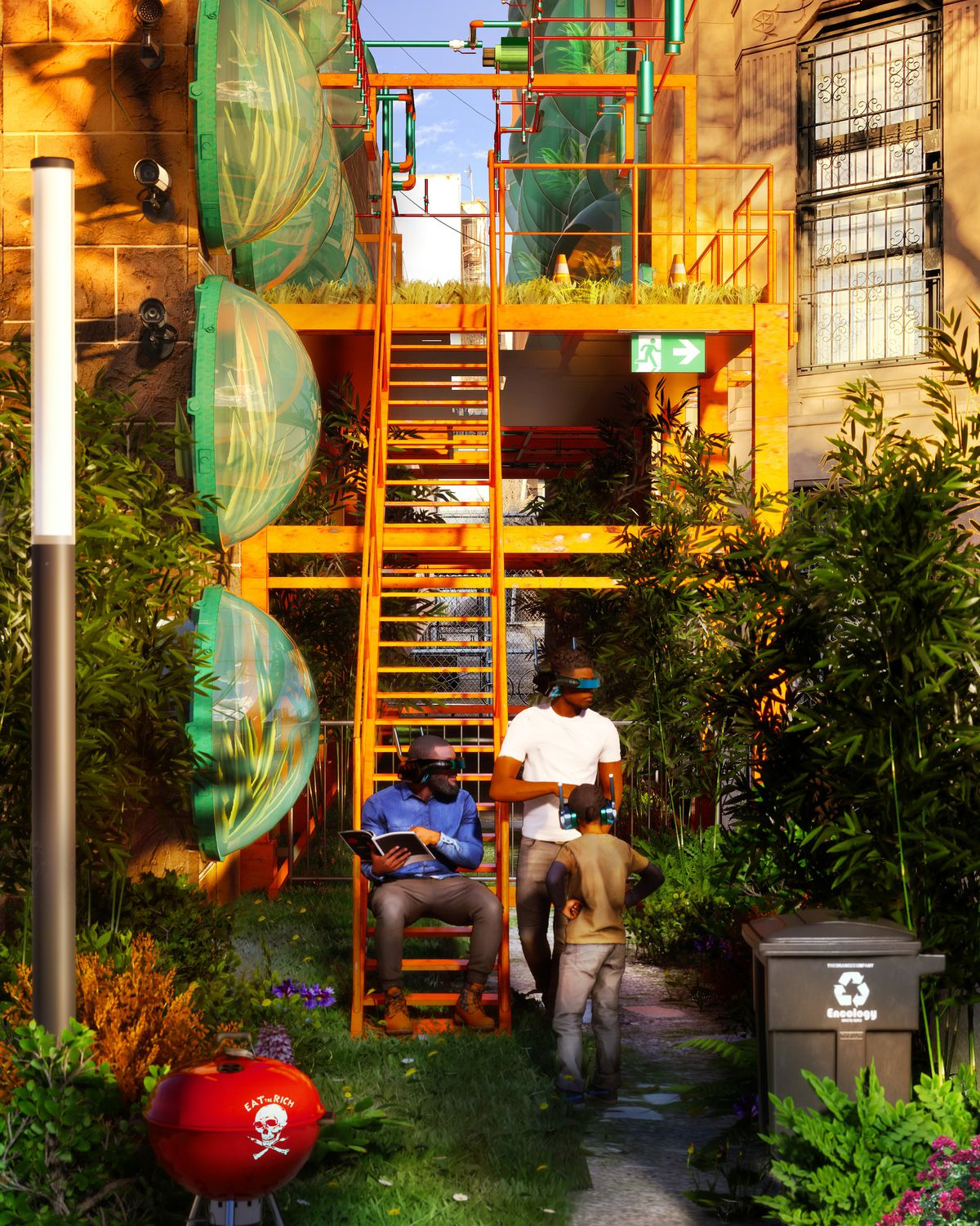 A rendering showing two men sitting on stairs with VR visors on. A vertical garden grows in an alleyway with transparent pods on the walls