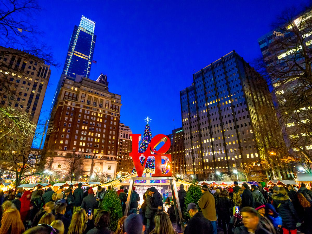 A view of the LOVE statue in Philly's LOVE Park at the Christmas Village.